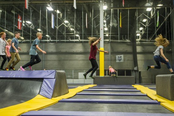 jumping on trampolines